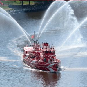John J. Harvey fireboat pumping water