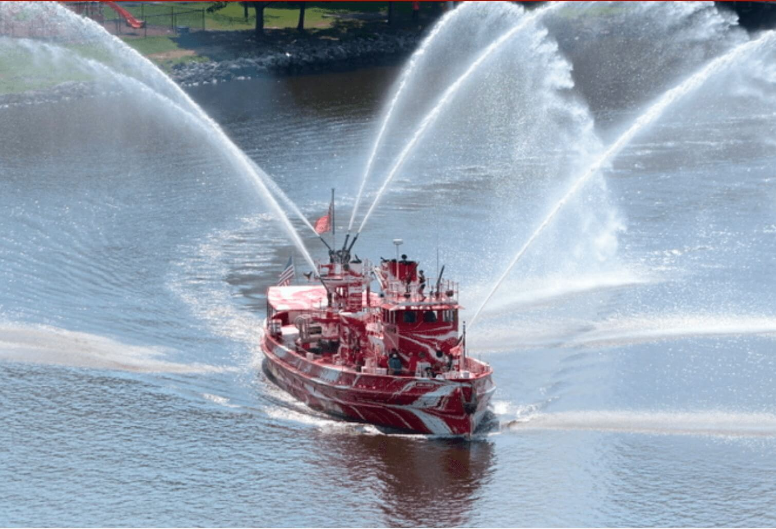John J. Harvey fireboat pumping water