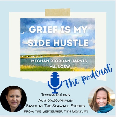 Grief Is My Side Hustle podcast logo with Meghan Riordan Jarvis and Jessica DuLong